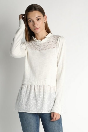 Ruffle Neck Lace Contrast Sweater Ivory