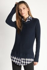 Plaid Shirt Knit Sweater Top