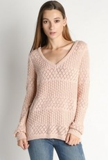 V Neck Crochet Pattern Sweater Blush Mauve