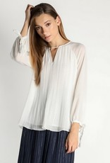 V Neck Blouse with Tassel Tie Sleeves Ivory