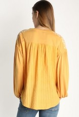 Embroidered Contrast Top with Balloon Sleeves Marigold
