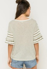Tier Ruffle Sleeves Stripe Top Olive/White