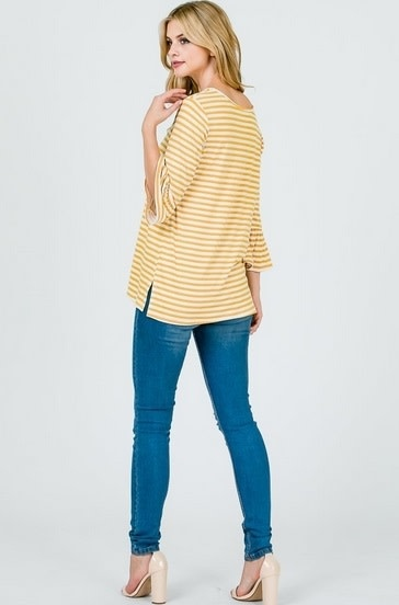Wide Sleeves Stripe Print Top Mustard