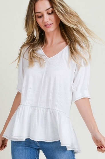 Ruffle Hem V Neck Knit Top Pure White