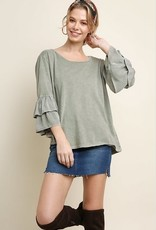 Tier Ruffle Sleeve Top Washed Sage