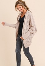 Loose Fit Cardigan with Sleeve Detail Mauve