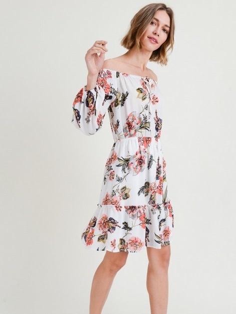 Off Shoulder Floral Print Ruffle Hem Dress White