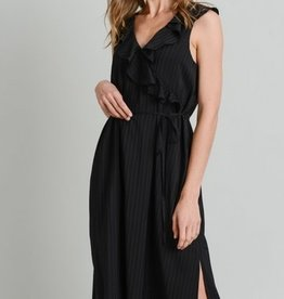 Ruffle Midi Dress with Side Slit Black