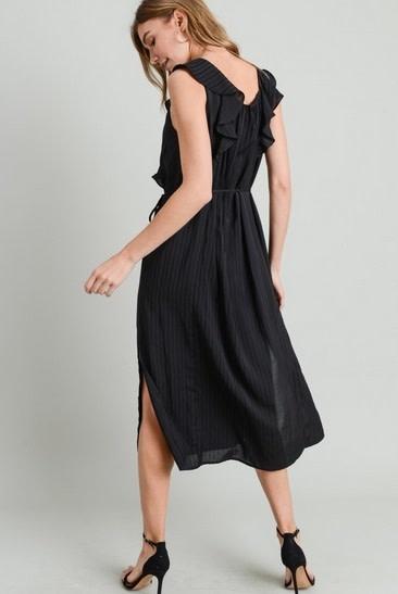 Ruffle Midi Dress with Side Slit Black