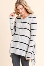 Shark Bite Hem Striped Sweater Cream