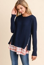 Sweater with Woven Underlay Navy/Rust