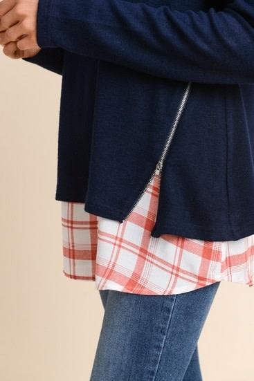Sweater with Woven Underlay Navy/Rust