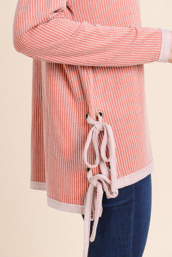 Boxy Tunic with Side Tie Red Bean