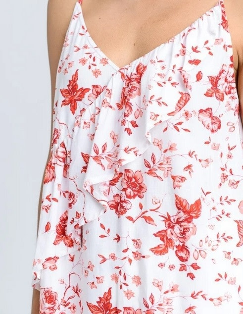 Floral Assymertical Ruffle Tank Red