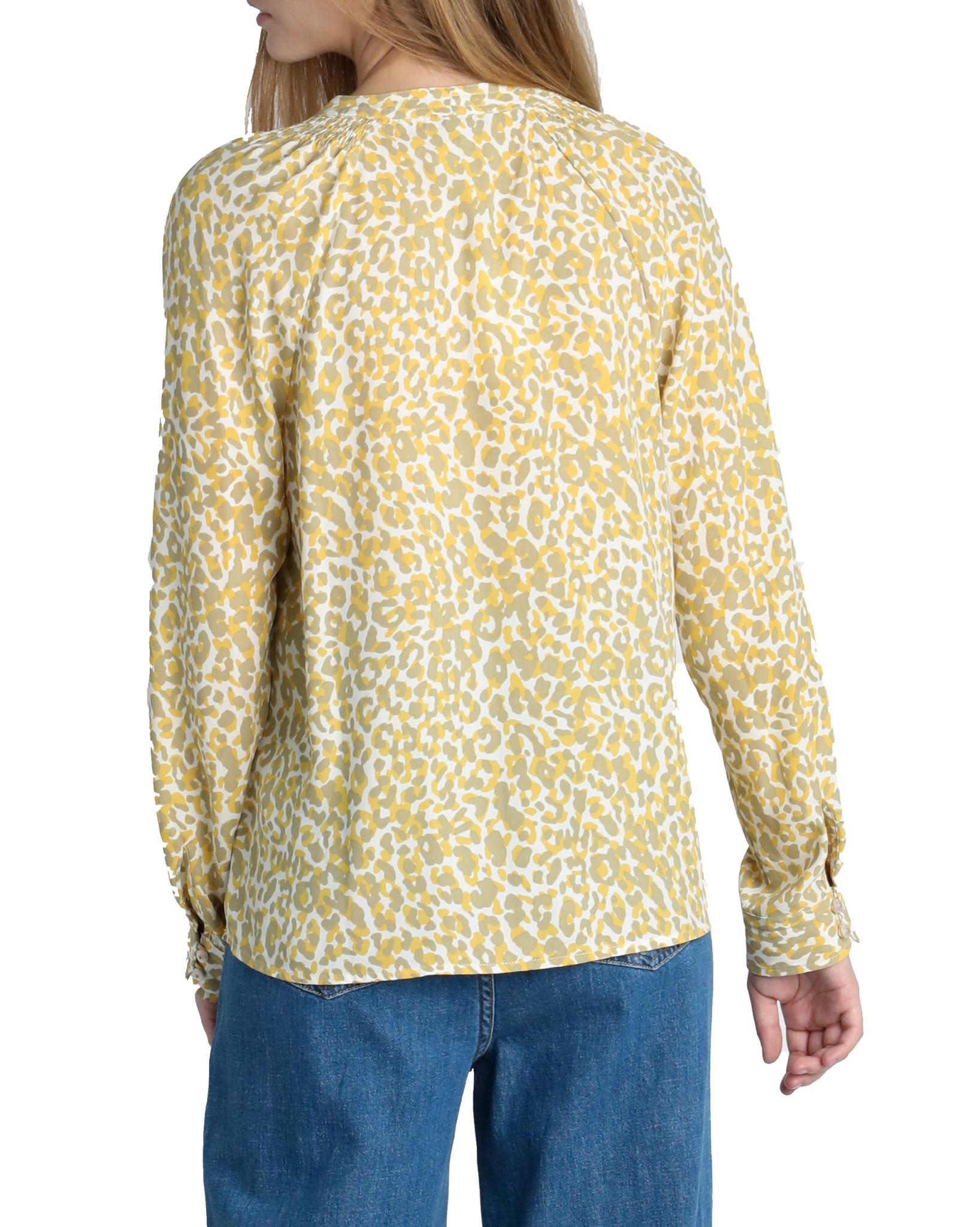 Leopard Print Tie Neck Blouse Sage Mustard