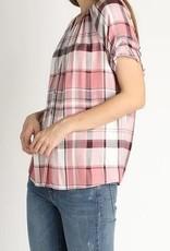 Cinched Sleeve Button Down Plaid Shirt Blush/Blk