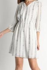 Shoulder Crochet Trim V Neck Dress White/Blk