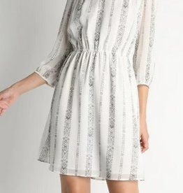Shoulder Crochet Trim V Neck Dress White/Blk