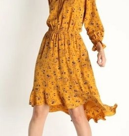 Floral Print High Low Dress Mustard