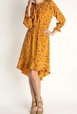 Floral Print High Low Dress Mustard