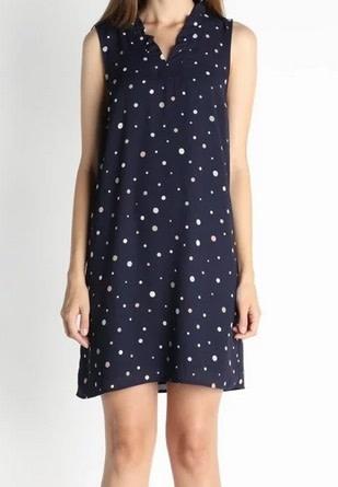 V Neck Easy Shift Dress Polka Dot