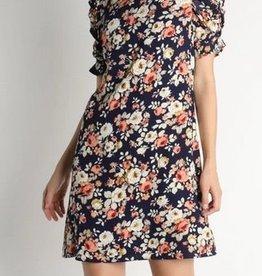 Floral Shirring Sleeve Dress Navy