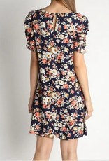 Floral Shirring Sleeve Dress Navy