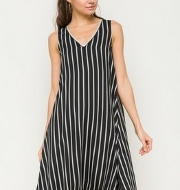Contrast Lace Up Back Stripe Dress Black/White