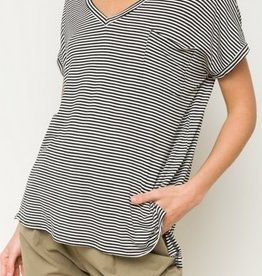 Pocketed Oversize Stripe Shirt Blk/White
