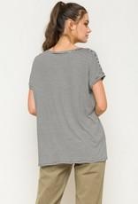 Pocketed Oversize Stripe Shirt Blk/White