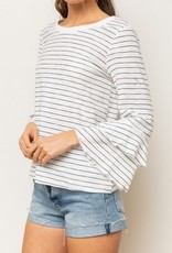 Double Ruffle Sleeve Stripe Top White