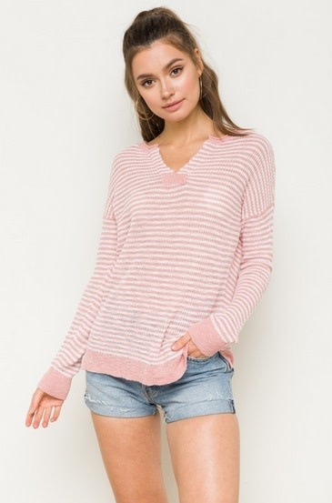 Striped Open Front Neck Sweater Mauve