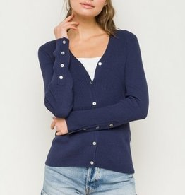 Button Detail Sleeve Cardigan Navy