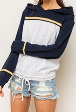 Colorblock Stripe Bubble Hem Hoodie Navy