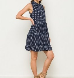 Polka Dot Tiered Ruffle Sleeveless Shirt Dress Navy