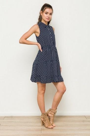 Polka Dot Tiered Ruffle Sleeveless Shirt Dress Navy