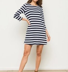Lace Up Back Stripe Ponte A-Line Dress Navy/White