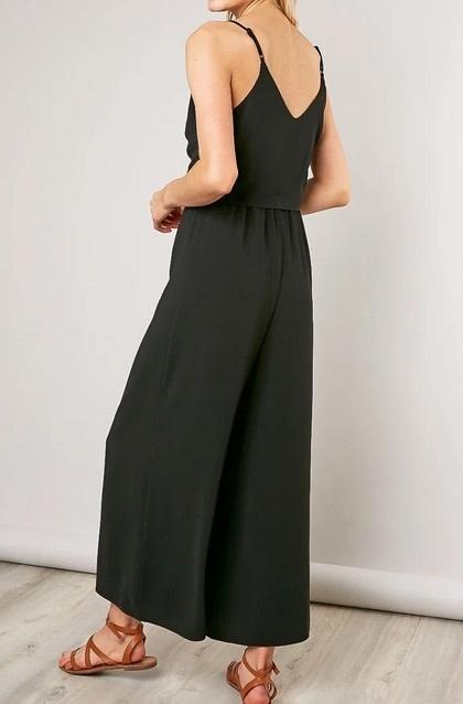 Geo Tie Front Cami Jumpsuit Black