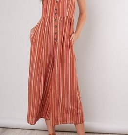 Stripe Button Front Jumpsuit Rust