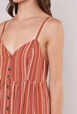 Stripe Button Front Jumpsuit Rust