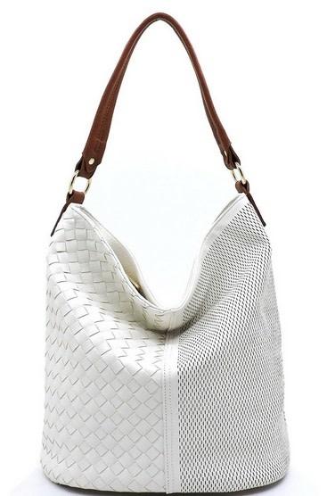 Woven Laser Cut Bucket Shoulder Bag