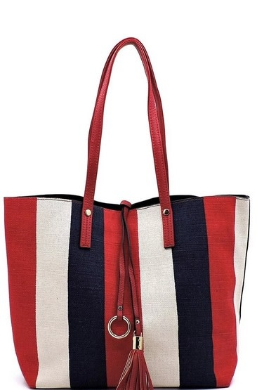 Multi Striped Canvas 3 in 1 Bag