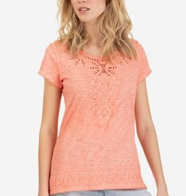 Tribal Cap Sleeve Embroidered Top Sunset