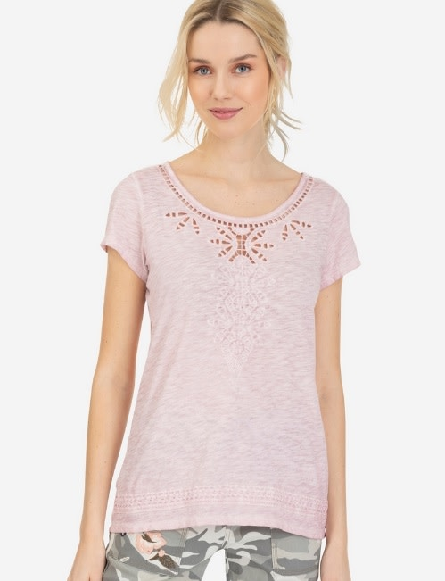 Tribal Cap Sleeve Embroidered Top Lotus