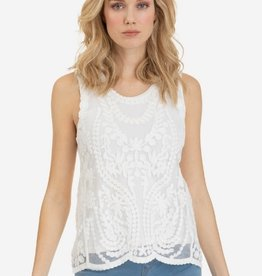 Tribal Sleeveless Emb Mesh Top White