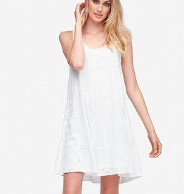 Tribal Sleeveless Eyelet Dress White