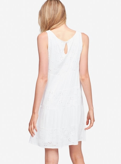 Tribal Sleeveless Eyelet Dress White