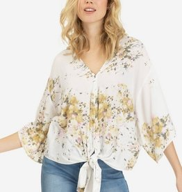 Tribal Tie Front V Neck Blouse Pinkmist