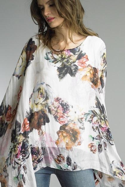 Assymetrical Bold Floral Top Ecrue