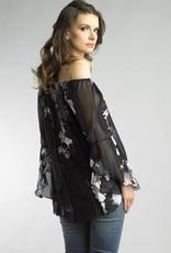 Bell Sleeve Floral Top Black